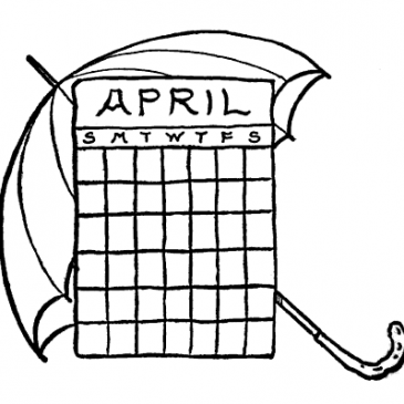 April Calendar Umbrella Graphics