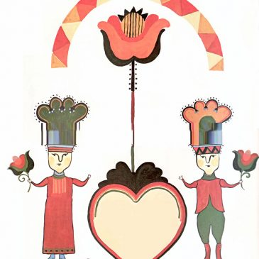 Folk Art Wedding Graphic for Invitations