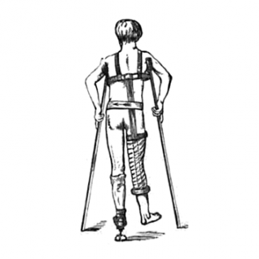 Man on Crutches Graphic